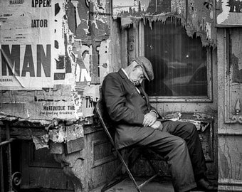 Vintage Black and White Photography Fine Art Print, Man Sleeping In A Chair