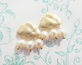 Earrings may rain gold cloud with beads