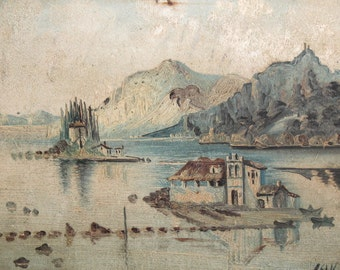 European art antique oil painting lake view signed