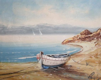 Interesting european oil painting seascape signed