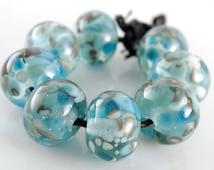 Beachcombing Made to Order SRA Lampwork Handmade Artisan Glass Donut/Round Beads Set of 8 8x12mm