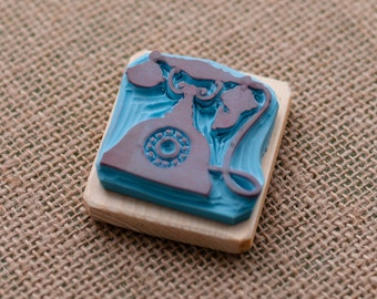 vintage phone hand carved rubber stamp