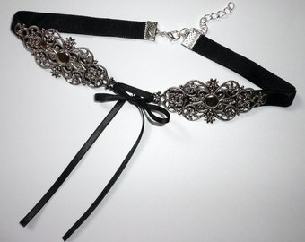 Black Gothic Choker Velvet Bow Necklace Collar Victorian Jewelry