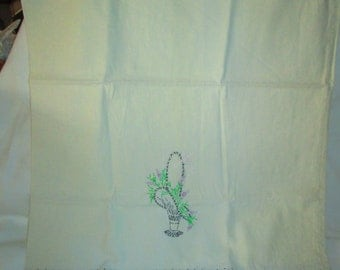 Vintage Embroidered Pillowcase Single Grey Green and white lavender flowers