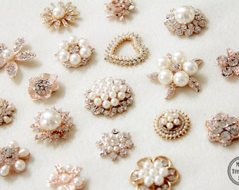 35 Assorted Mix Lot Pearl Rhinestone Gold Metal Base Flat back Brooches Button/Craft Supplies/Wedding Accessories