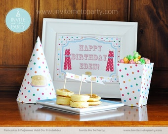 Pancakes and Pajamas Party Decoration Printables Add On / Pancakes and Pyjamas