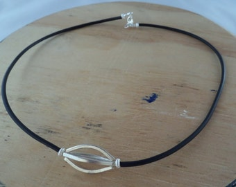 Modern Sterling Silver and Black Rubber Necklace