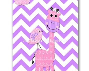 Giraffe Nursery Digital Art Printable Print Baby Girl Nursery Art Children Art Kids Wall Art Digital Download 8x10 11X14 INSTANT DOWNLOAD