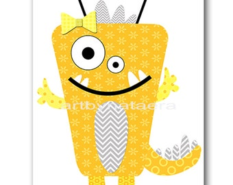 Monster Nursery Art for Children Printable Digital Print Baby Girl Nursery Print Digital Download Print 8x10 11X14 INSTANT DOWNLOAD yellow