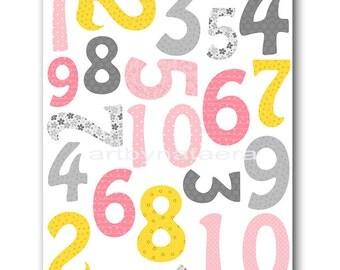 Digital Numbers Nursery Printable Wall Art Baby Nursery Decor Printable Decor Baby Girl Nursery Digital Print 8x10 11X14 INSTANT DOWNLOAD