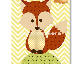Fox Nursery Print Kids Art Digital file Children Art Kids Wall Art Baby Boy Nursery Art Baby Boy Room Decor 8x10 11X14 INSTANT DOWNLOAD