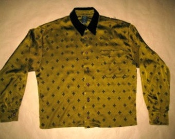 Gaultier STRETCH # vintage late 80's # green-gold silk shirt men # lily embroidery # sz 50 Italy