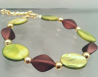Green, Brown, & Gold Bracelet