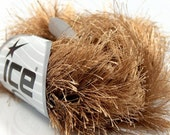 Light Brown Tan LONG Fun Fur Eyelash Yarn ICE Brand 14170