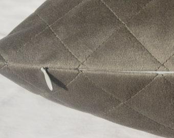 22x22 Euro Sham, 12x 18 lumbar pillow cover, Gray Decorative Throw Pillow, Quilted Gray Pillow, Zippered Pillow