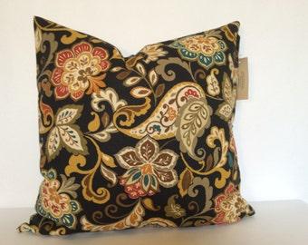 Fall Paisley Decorative Pillow, Thanksgiving Decor Cushion, Euro Sham, Brown Flower Pillow, Toss Pillow, Halloween Decor Accent Pillow,