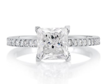 2.02 CT Princess Cut d/si1 Diamond Solitaire Engagement Ring 14k White Gold