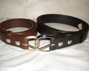 """Handmade Amish Leather Belt for Men or Women 1 1/2"""" width Choice of Chrome or Brass Buckle"""