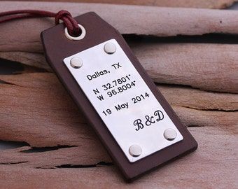 GPS Coordinates Leather Luggage Tags - Longitude Latitude Luggage Tags - Personalized Leather Luggage Tags - Gift for Him