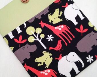 iPad air padded sleeve  /  Made in Maine / green/jungle animals