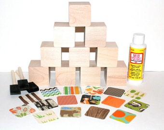 Forest Animals Nursery Room Decor - DIY Baby Block Kits - Baby Shower Craft - 2 Inch Hardwood Blocks