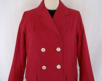 Vintage 1960's - 'Quelrayn' - Fashionable Rainwear Dark Fushia/Cerise Pink Rain Mac - Approx UK 12