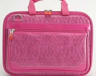 Crocodile 13.3 Inch - 14 Inch Laptop Bag / 13 Inch Macbook Air Bag /Laptop Shoulder Bag / Padded Laptop Bag  - Hot Pink