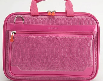 Crocodile 12 Inch New MacBook Laptop Bag / Laptop Shoulder Bag / Detachable Shoulder Strap/ Padded Laptop Bag - Hot Pink