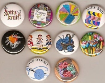 I Love To Knit 10 Pins Buttons Badges Pinbacks