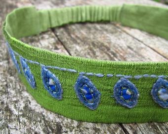 Green Leaf Embroidered Silk Headband