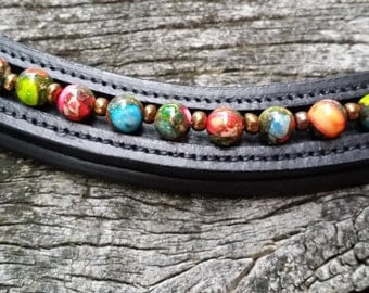 Harlequin dressage browband for horses with rainbow jasper gemstones