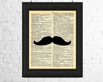 Moustache Art Print, Dictionary Page Art, Moustache Silhouette, Hipster Print, Moustache Poster, Moustache Wall Art, Printable Art