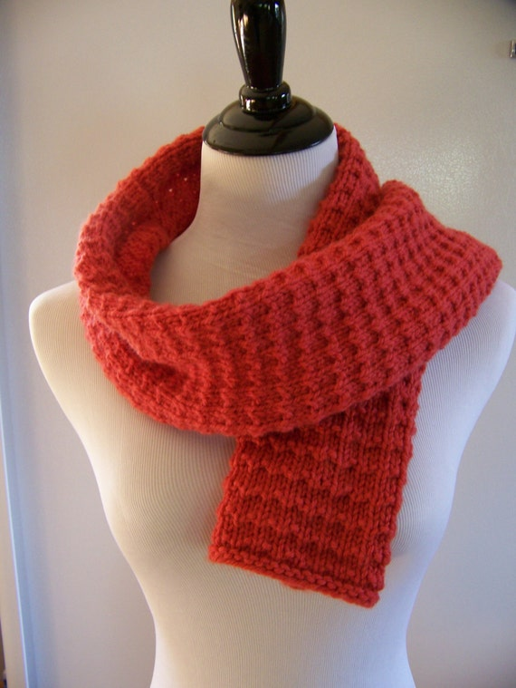 Fast Knit Scarf Pattern : Items similar to Red Knit Scarf, Red Scarf, Cranberry Scarf, Red Wool Scarf, ...