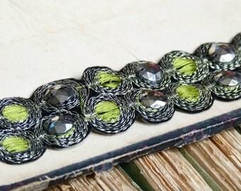 Vintage Art deco costume trim, chartreuse, silver & marcassite coloured sew on bead embellishment. great gatsby, design, vintage