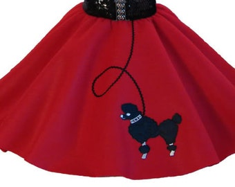 Red 50's POODLE SKIRT for BABY - 6 12 18 months