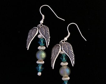 Antique Silver Angel winged Iridescent Dangle Earrings