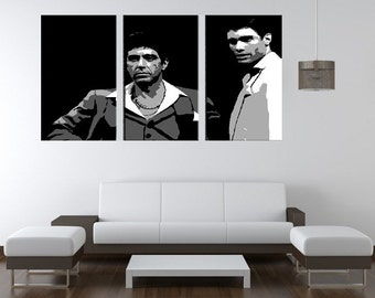 manny tony hand painted canvas acrylic pop art oil painting l framed scarface gallery wrapped wall art