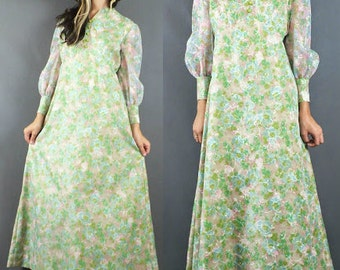 Vintage 60's Sheer Pastel Prairie Floral Print Hippie Empire Maxi Festival Dress M