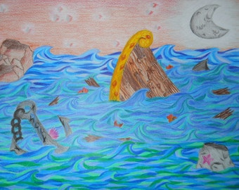 Colorful Whimsical Seascape Illustration