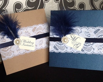 Wedding Pocket Invitation | Vintage | Shabby Chic | Lace | Feather | Pearl | Tag