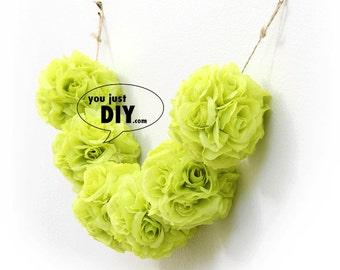 Kiwi Green Kissing Balls Banner Silk Rose Flower Pomander Balls Bunding for Wedding Party Decoration