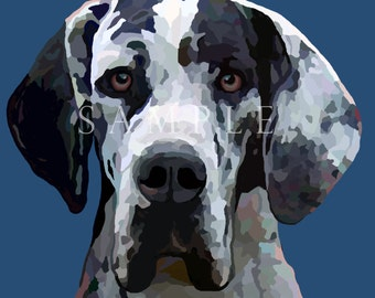 Great Dane Dog- Harlequin  Pet Portrait Painting Signed Print