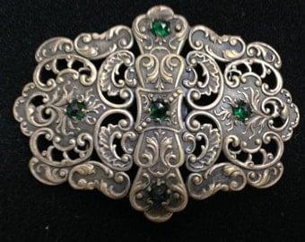 Intricate Metal Vintage Buckle with Green Rhinestones
