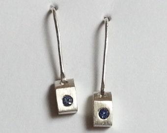 Blue Sapphire Dangle Earrings in Sterling Silver