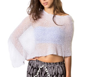 Bright White #19 Infinity Bali Shawl, Woven Knit Mesh See Through Cape, Beach Cover, Poncho, Shirt, Tube top, Skirt, Scarf All in One!