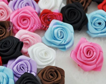 40pcs organza ribbon flowers rose wedding decorations craft appliques A084
