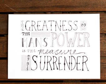 SALE! 50% OFF Mans Power is His Surrender print, Christian typography, A5