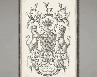 BIG Heraldic coat of arms 18th century family crest. 11x17 or 16 x 24 inch. 6 set available too!
