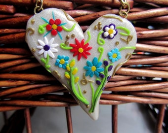 Polymer Clay Floral Heart Necklace