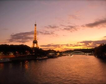Eiffel Tower at Sunset, Paris, Wall Art, Paris Photography, Seine, Sunset, Seine River